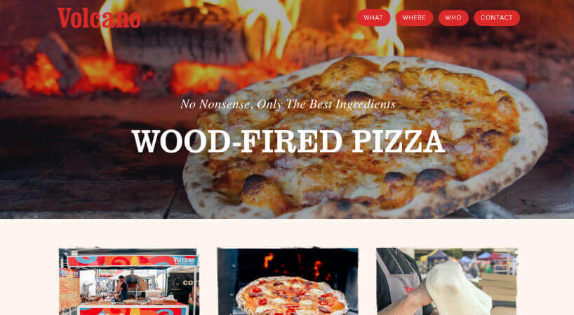 Volcano Wood Fired Pizza Website